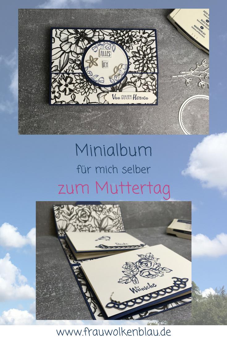 Geschenk-zum-Muttertag-Minialbum-Marineblau-Blütenfantasie-Pin