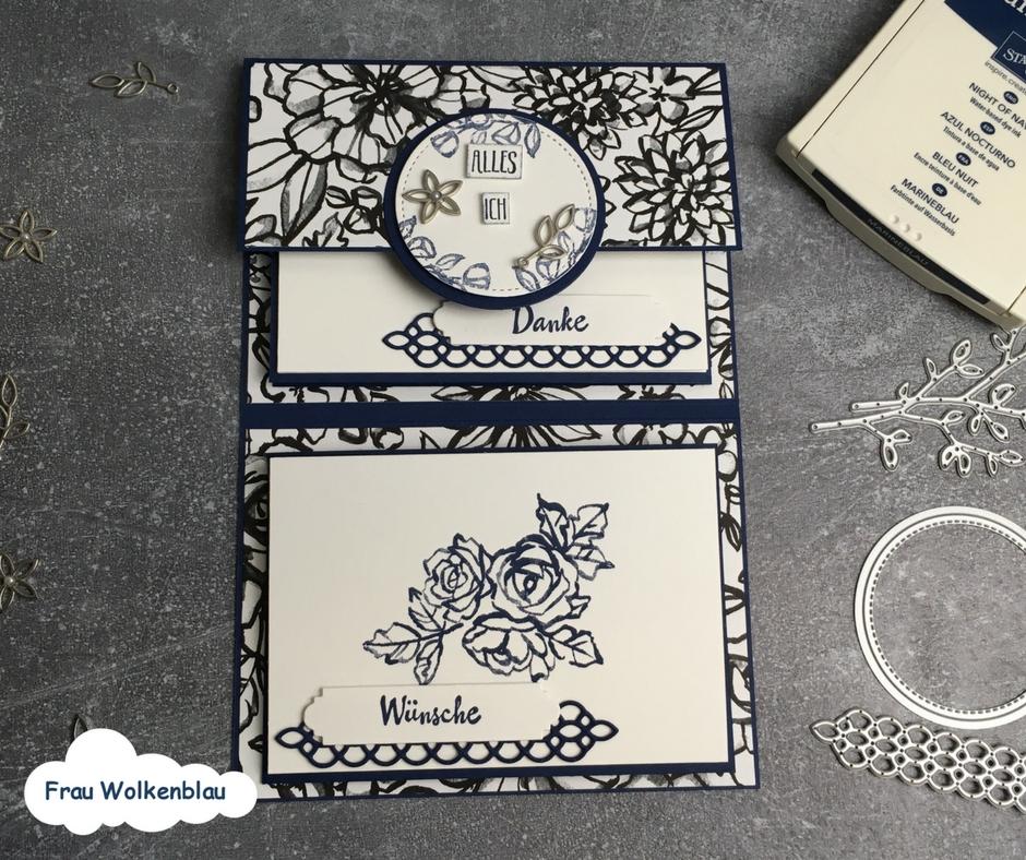 Geschenk-zum-Muttertag-Minialbum-Marineblau-Blütenfantasie-einmal-aufgeklappt