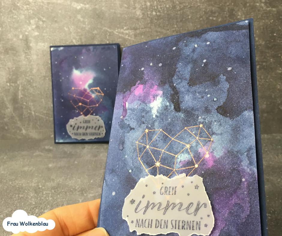 Sternenstaub-Grußkarten-Sternstunden-Marineblau
