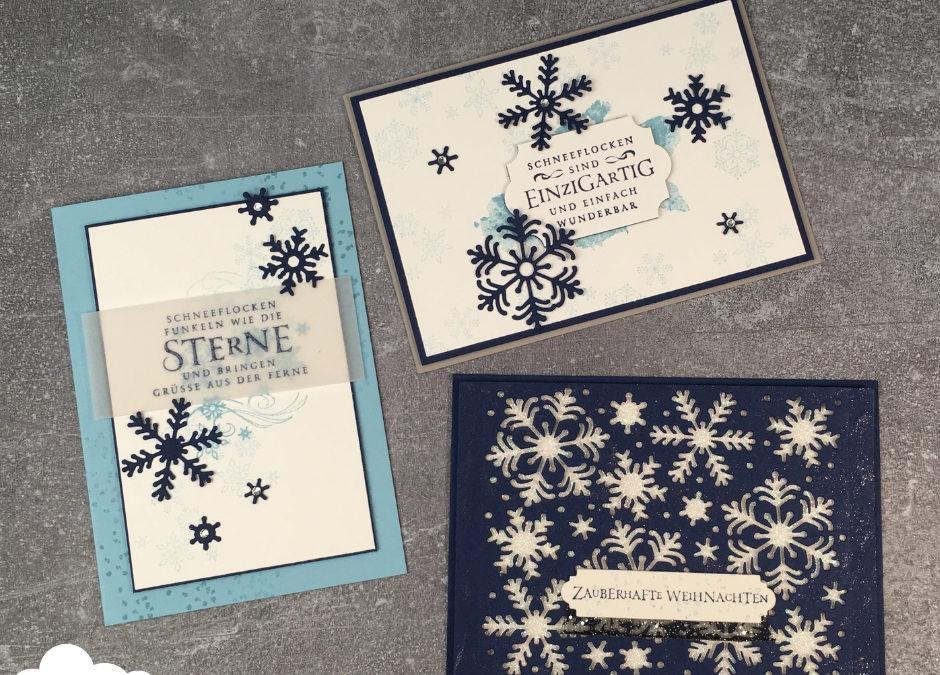 Weihnachtskarten stehen wieder auf dem Programm – ich wäre nun bereit für Schneeflocken